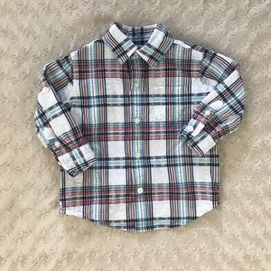 Janie and Jack Button Down Shirt Plaid 6-12 Months